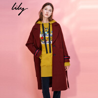 Lily2017冬新款女装大翻领毛呢大衣撞色条纹毛呢大衣117420F1524