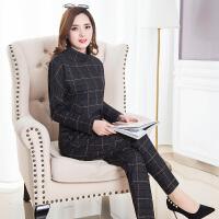 时尚套装女2018春装新款韩版中年气质格子打底衫秋冬休闲裤两件套