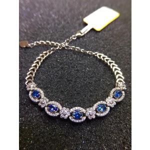 天然蓝宝石手链,火彩爆闪!蓝宝石四大宝石之一