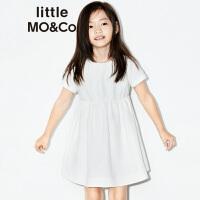 littlemoco 女童纯色暗花纹百搭纯棉短袖连衣裙KA172DRS120