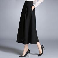 冬天裙子女冬秋冬新款时尚半身裙中长款高腰不规则加厚大摆裙 黑色 3X