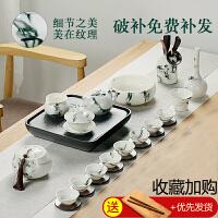整套功夫茶具家用手工盖碗茶杯泡茶壶青花办公室开业礼品礼盒套装
