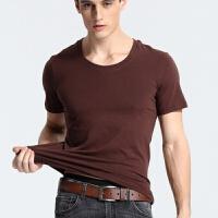 男士纯棉紧身打底衫纯色白棉毛衫大码半袖圆领V领背心汗衫T恤