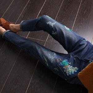【满200减100】AGECENTRE时代中心 2017春女新款潮夏装刺绣牛仔裤女长裤 韩版宽松学生铅笔裤高腰小脚裤