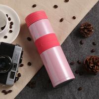 时尚男女士保温杯简约不锈钢水杯子便携直身茶杯创意水壶定制刻字 樱花粉450ML 樱花粉450ML