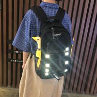 韩版大学生背包反光工装黑色原宿风书包男女大容量百搭ins双肩包
