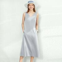 【券后预估价:158元】Amii极简法式气质v领连衣裙女2020春新款无袖中长款修身显瘦a字裙
