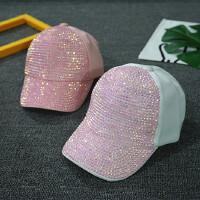 儿童棒球帽春秋薄款夏季女童鸭舌帽遮阳帽水钻小孩帽宝宝帽子韩版