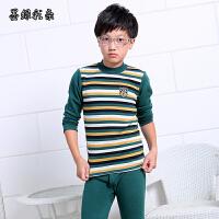 男士青少年中大童内衣套装加绒加厚初中学生全棉印花保暖内衣冬季 墨绿色 墨绿彩条