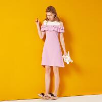 2018夏季新款女装紫色露肩初恋裙子sukol少女木耳边一字肩连衣裙 紫色 均码