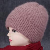 兔毛针织毛线帽女冬天中老年人保暖帽老人帽子女冬季妈妈帽绒围巾