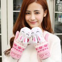 手套女冬天韩版可爱潮女生加绒加厚学生手套冬季保暖连指毛线手套