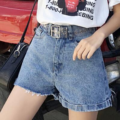 RANJU 然聚2018女装夏季新品新款高腰破洞牛仔毛边短裤女不规则阔腿热裤