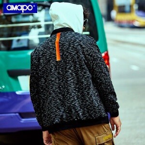 【限时抢购到手价:150元】AMAPO潮牌大码男装秋季加肥加大码嘻哈棒球领满印夹克肥佬外套男