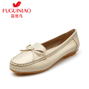 富贵鸟夏季新款女鞋 防滑妈妈鞋中老年皮鞋休闲平底套脚单鞋