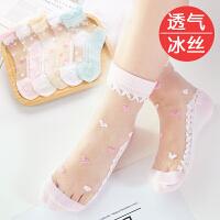 儿童袜子薄款女童冰丝袜中大童公主花边中筒袜女孩