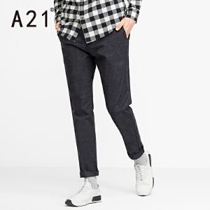 以纯A21男装2017年直筒裤子男冬季新品舒适活力百搭低腰纯色休闲裤潮