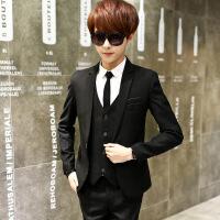 春秋季男士马甲外套西服青少年修身韩版学生小西装长裤潮三件套装