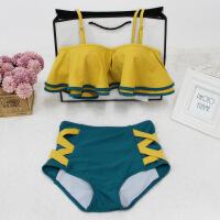 游泳衣女分体三角小胸聚拢钢托两件套少女学生一字肩韩国温泉泳装
