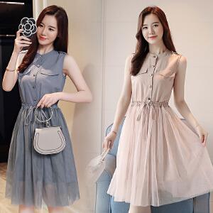 【超值两件套装】夏装2018新款女装夏天裙子韩版时尚无袖衬衣网纱两件套装连衣裙