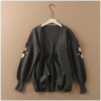 冬季新品宽松花朵刺绣开叉长袖这种外套女潮A33-4-10558