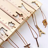 韩国可爱卡通木质带吊坠尺子直尺小学生奖品礼物文具