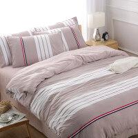 裸睡水洗棉四件套公主风 床单被套1.8m单人学生宿舍三件套J 被套220*240 床单250*230 枕套*2