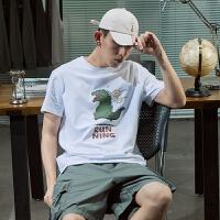 【5.16日-5.18日抢购价:41】唐狮夏季新款男短袖T恤卡通图案青少年半袖圆领潮流上衣