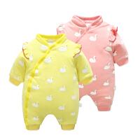 女婴儿衣服1岁3个月5男宝宝长袖公主哈衣爬服9新生儿连体衣秋冬装