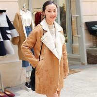 加绒毛呢外套女中长款秋冬季韩版时尚百搭学生麂皮绒开衫外穿