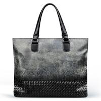 手提包男士公文包包新款多功能帆布商务休闲男包手拎包 黑色