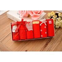 少女款蝴蝶结蕾丝全棉可爱糖果色纯棉女式三角内裤女士礼盒装套装 红色 HS6006