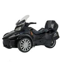 儿童三轮摩托车模型仿真小汽车警车庞巴迪合金玩具车声光版