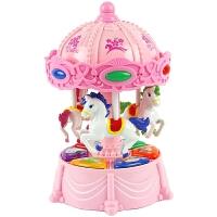 儿童0-1-3-6岁早教旋转木马音乐灯光电动女孩男孩有声益智玩具礼物 粉色