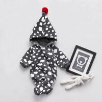 女婴儿连体衣服秋冬季0岁3个月男宝宝7冬装新生儿加厚衣服外出服