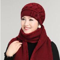 中老年人帽子围巾 女士秋冬天老太太毛线围巾老人女冬季中年妈妈奶奶帽新年圣诞礼物