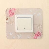 【3个装】开关保护套亚克力墙贴插座贴灯开关装饰套现代中式客厅 粉红色 3个粉色玫瑰