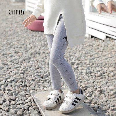 amii童装2018夏装新款女童英文印花裤子中大童纯色修身裤儿童长裤
