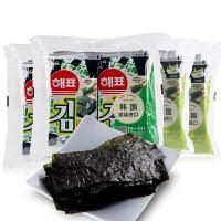 韩国进口零食海牌寿司儿童即食海苔原味芥末味海飘即食烤紫菜32包