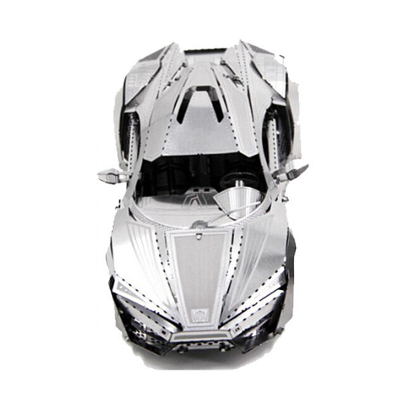 3D金属拼图立体金属模型建筑汽车坦克军事城堡创意礼品玩具模型 白色 大号跑车