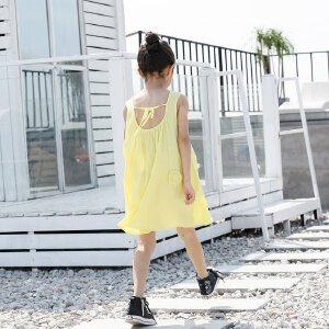 【618折上6.5折领券再减 低至5折】amii童装女童连衣裙夏季简约纯色背心裙舒适亚麻夏款宽松A字裙