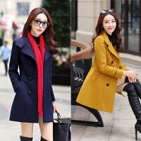 2017秋冬季新款女士毛呢外套韩版修身女装时尚大码中长款女外套潮
