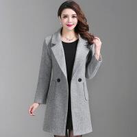 2017新款冬装羊毛大衣妈妈装中长款 纯色百搭中老年女装呢外套 灰色