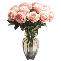 仿真玫瑰花假花套装客厅餐桌装饰花干花花束摆件摆设花艺