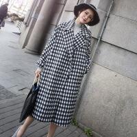 2018秋季新款新款黑色白色千鸟格呢子大衣中长款过膝加厚复古格子毛呢外套女装 格子