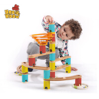 儿童弹珠轨道玩具3-6周岁拼装木制女孩1-2岁宝宝早教益智滚珠积木