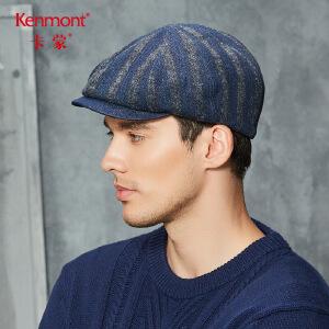 卡蒙帽子棉质条纹前进帽秋冬八角贝雷帽男欧美英伦复古软顶鸭舌帽 2637