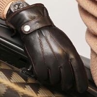 新款时尚男士羊皮手套简约保暖加厚骑车真皮手套户外手套 可礼品卡支付
