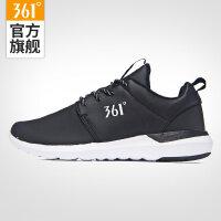 361女鞋皮面防水运动鞋子女跑步鞋361度秋季轻便跑鞋黑色旅游鞋