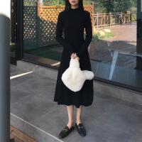 韩观秋冬季2018新款韩版裙子长裙显瘦半高领长袖打底连衣裙女潮 黑色 均码